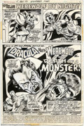 Original Comic Art:Splash Pages, Mike Ploog and Frank Chiarmonte - Original Title Splash for Werewolf by Night #15 (Marvel, 1973). A battle of titans, as the...