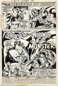Mike Ploog and Frank Chiarmonte - Original Title Splash for Werewolf by Night #15 (Marvel, 1973). A battle of titans, as...