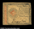 Colonial Notes:Continental Congress Issues, Continental Currency January 14, 1779 $20 Very Fine. A ...