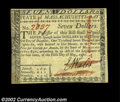 Colonial Notes:Massachusetts, Massachusetts May 5, 1780 $7 Very Choice New. Unlike the ...