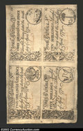 Colonial Notes:South Carolina, South Carolina April 10, 1778 Uncut Sheet of Four About New....