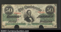 Confederate Notes:1863 Issues, 1863 $50 Black with green overprint; Jefferson Davis, T-57, XF,...
