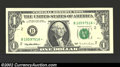 Error Notes:Skewed Reverse Printing, 1995 $1 Federal Reserve Note, Fr. 1921-B*, Choice CU. The back ...
