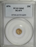 California Fractional Gold: , 1876 25C Indian Round 25 Cents, BG-879, R.4, MS62 PCGS. . PCGSPopulation (14/57). NGC Census: (0/12). (#10740)...