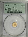 California Fractional Gold: , 1870 50C Goofy Head Octagonal 50 Cents, BG-936, Low R.5, AU53 PCGS.. PCGS Population (3/40). NGC Census: (0/2). (#10794)...