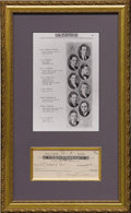 """Autographs:U.S. Presidents, Harry S. Truman: Document Signed, a Personal Check for ten dollarsdrawn on the City Bank of Kansas City, 6.25"""" x 3"""", Januar..."""