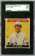 Baseball Cards:Singles (1930-1939), 1933 Goudey Sport Kings Ty Cobb #1 SGC Good 30. Important #1 cardfrom the 1933 Goudey Sport Kings issue depicts the surly ...