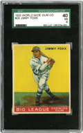 Baseball Cards:Singles (1930-1939), 1933 World Wide Gum Jimmy Foxx #29 SGC VG 40. Brilliant centeringand color retention allow this fine card from the Canadian...