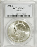 Eisenhower Dollars: , 1972-S $1 Silver MS67 PCGS. PCGS Population (4488/1333). NGC Census: (705/317). Mintage: 2,193,056. Numismedia Wsl. Price f...