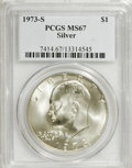 Eisenhower Dollars: , 1973-S $1 Silver MS67 PCGS. . PCGS Population (2760/761). NGC Census: (439/94). Mintage: 869,400. Numismedia Wsl. Price for...