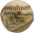 "Autographs:Baseballs, 1960 Ty Cobb Single Signed Baseball. The Peach's favored green inkregisters an irrefutable 10/10 on this ""Official Little ..."