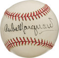 Autographs:Baseballs, Mid-1970's Rube Marquard Single Signed Baseball. Along with Christy Mathewson, this Hall of Fame southpaw anchored one of t...