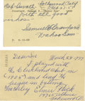 Autographs:Post Cards, 1930's-50's Hall of Famers & Stars Signed Government PostcardsLot of 5. Best in the bunch here are rather wordy inscriptio...