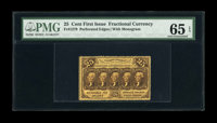 Fr. 1279 25c First Issue PMG Gem Uncirculated 65 EPQ. A super little note, with deep, perfect perforations all the way a...