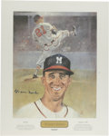 """Baseball Collectibles:Others, Warren Spahn Signed Print. Hall of Fame ace Warren Spahn's high leg kick is referred to with this attractive 16x20"""" print. ..."""