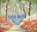 Texas:Early Texas Art - Regionalists, MARY EDWARDS (1871-1951). An Azalea Trail (Bellingrath Gardens,Mobile, Alabama), 1937. Oil on canvasboard. 16in. x 18in...