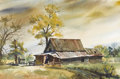 Texas:Early Texas Art - Impressionists, RAMON FROMAN (1908-1980). Untitled Pioneer Cabin. Watercolor. 141/2in. x 21in.. Signed lower right. Ramon Froman moved to...