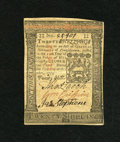 Colonial Notes:Pennsylvania, Pennsylvania October 1, 1773 20s Choice About New. A lone centerbend is noted on this well signed piece....