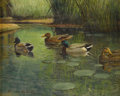 Texas:Early Texas Art - Impressionists, REVEAU BASSETT (1897-1981). Ducks in Pond. Oil oncanvasboard. 8in. x 10in.. Signed lower left. An early and fineReve...