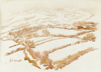 HOWARD COOK (1901-1980)Talpa Winter Watercolor and pencil 18in. x 24in. Signed lower center  Howard Cook won the