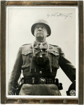 """Autographs:Military Figures, George S. Patton, Jr. Photograph Signed """"G S Patton Jr.,"""" 7.5"""" x 9.5"""". Presented in a 9"""" x 11"""" sterling silver standing ..."""