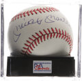 "Autographs:Baseballs, Mickey Mantle Single Signed Baseball, PSA Mint+ 9.5. With Mantle singles the new ""gold standard"" in the collecting hobby, s..."