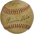 Autographs:Baseballs, 1940's Jimmie Foxx Single Signed Baseball. Absolutely exceptionalspecimen is on a million want lists for collectors of all...