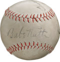 "Autographs:Baseballs, 1934 Babe Ruth & Moe Berg Signed Baseball. The cast of characters residing upon this ""International Special"" horsehide sugg..."