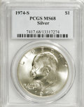 Eisenhower Dollars: , 1974-S $1 Silver MS68 PCGS. . PCGS Population (832/2). NGC Census: (119/1). Mintage: 1,900,156. Numismedia Wsl. Price for N...