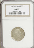Coins of Hawaii: , 1883 25C Hawaii Quarter AU55 NGC. NGC Census: (35/620). PCGSPopulation (70/1049). Mintage: 500,000. (#10987)...