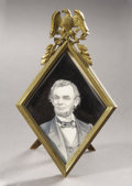 Political:Miscellaneous Political, Abraham Lincoln: Especially Nice Miniature Portrait on Ivory in anAttractive and Unusual Brass Patriotic Frame with Easel Sta...