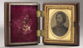 Photography:Tintypes, John C. Frémont: Choice Tintype of the 1856 & 1864 Presidential Candidate, Housed in a Rare Thermoplastic Case Featuring an In...