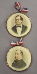 """Political:Ribbons & Badges, Bryan and """"Mac Kinley"""": Matched Pair of Large Portrait Badges in Superb Condition.... (Total: 2 Items)"""