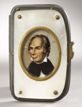 Political:Miscellaneous Political, Henry Clay: Superb Change Purse with Reverse-on-Glass Inset Portrait and Mother of Pearl Decoration....