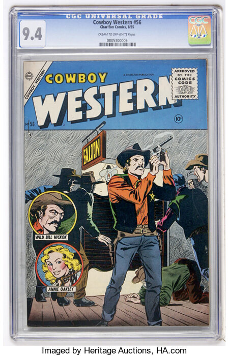 Cowboy Western #56 (Charlton, 1955) CGC NM 9.4 Cream to off-white pages....