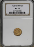 Commemorative Gold, 1922 G$1 Grant no Star MS62 NGC....