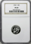 Proof Roosevelt Dimes: , 1963 10C PR69 NGC. . NGC Census: (169/0). PCGS Population (154/12).Mintage: 3,075,645. Numismedia Wsl. Price for NGC/PCGS ...
