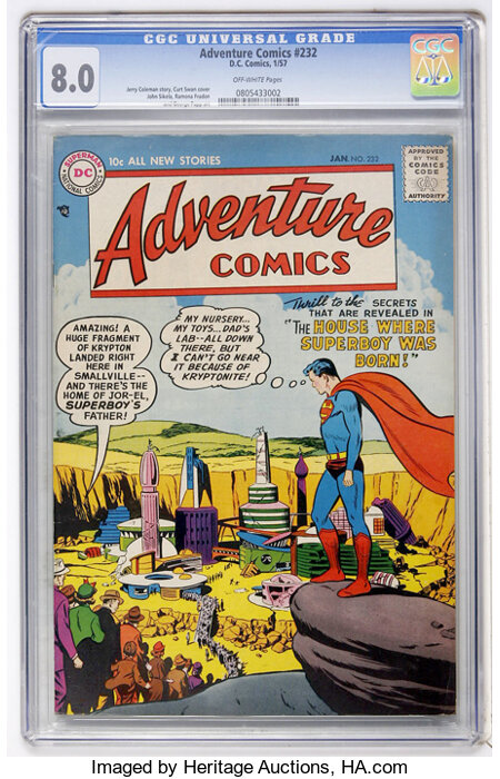 Adventure Comics #232 (DC, 1957) CGC VF 8.0 Off-white pages....