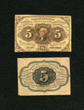 Fractional Currency:First Issue, Fr. 1231SP 5c Narrow Margin Pair First Issue New.... (Total: 2 notes)