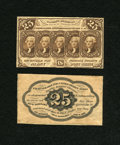 Fractional Currency:First Issue, Fr. 1282SP 25c Narrow Margin Pair First Issue New.... (Total: 2 notes)