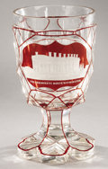 """Political:3D & Other Display (pre-1896), White House: Stunning Mid-Nineteenth Century Bohemian Glass Goblet Picturing """"The President's House Washington"""" with Frosted, ..."""