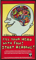 "Autographs:Artists, Keith Haring Signed ""Reading For Fun"" Poster.... (Total: 2 Items)"