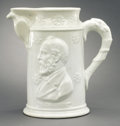 Political:3D & Other Display (pre-1896), James A. Garfield: Large Ironstone Pitcher in Remarkable Condition....