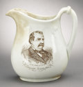 Political:3D & Other Display (pre-1896), Cleveland & Thurman: Another Massive Pitcher, the Companion Piece to the Harrison & Morton....