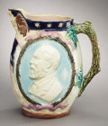 Political:3D & Other Display (pre-1896), James A. Garfield: Gorgeous, Large Majolica Style MulticolorPitcher with High Relief Decorations....