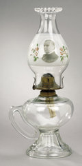 Political:3D & Other Display (1896-present), William McKinley: Rare Large Glass Kerosene Lamp in Pristine Condition....