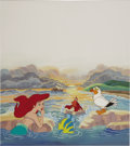 "Animation Art:Production Cel, ""The Little Mermaid"" Production Cel with Hand-Painted BackgroundOriginal Art (Walt Disney, 1989). ..."