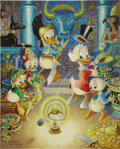 "Original Comic Art:Sketches, Carl Barks - ""The Stone That Turns All Metal Gold"" Oil Painting Original Art (circa 1991)...."