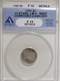 Early Half Dimes, 1797 H10C 13 Stars--Bent, Corroded, Damaged--ANACS. Fine 12Details....