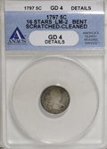 Early Half Dimes, 1797 H10C 16 Stars--Bent, Scratched, Cleaned--ANACS. Good 4Details....